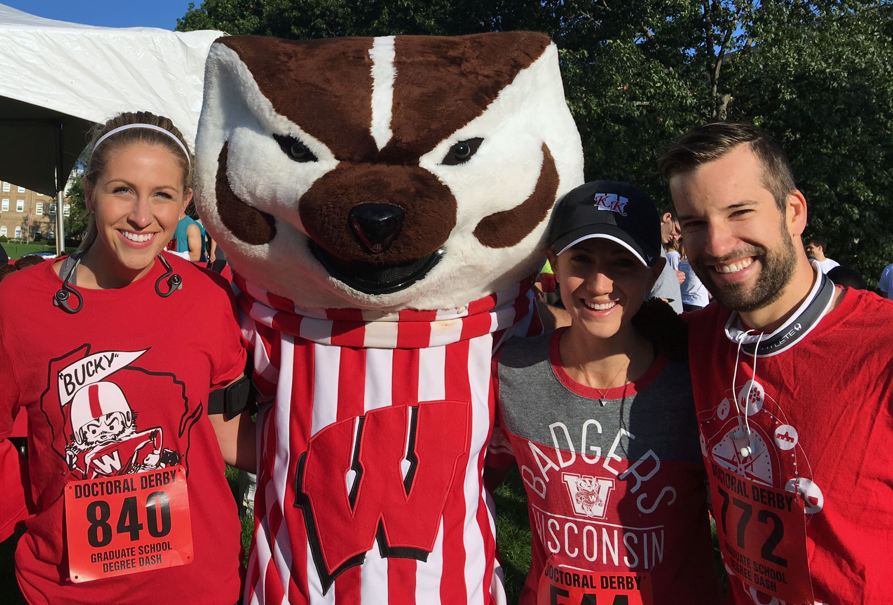 CSD students posing with Bucky Badger.