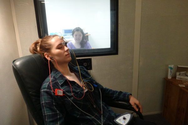 Graduate student hearing evaluation via auditory brainstem response (ABR) testing.