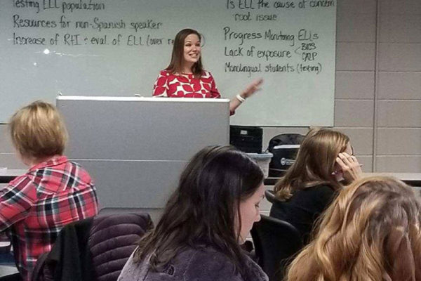 An SLP clinical faculty member provides training for staff on language differences vs. disorders at CESA 6.