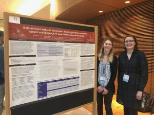 Elizabeth Dunn and Erin Hackett, two of our SLP master's students, presented at UW's School of Medicine and Public Health's Alzheimer's Disease and Related Disorders Research Day at the Discovery Center. Elizabeth and Erin worked with CS&D assistant professor Kim Mueller, Ph.D., CCC-SLP on their research. They presented a poster about associations with amyloid plaque deposition and longitudinal connected speech and language in unimpaired adults at risk for Alzheimer's Disease.